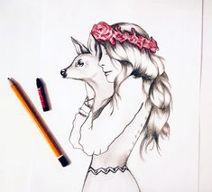 Woman with little deer