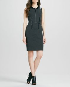 Milly - Samantha Dress with Leather Trim