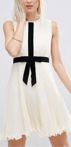 Occasion Pleat Skater Dress with Contrast Bow