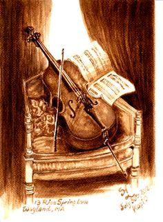 """Saatchi Art Artist Sudakshina Ghosh; Painting, """"cello"""" #art"""