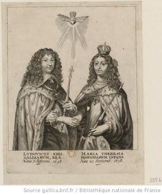 Louis XIV and Marie Thérèse tenant chacun un sceptre et se donnant la main, 17th C engraving, French school