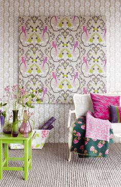 #JFFabrics | Wallcoverings | Paradiso | Pattern 5037 | Colour 96W6191 & Pattern 5038 | Colour 95W6191