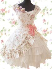 Ivory Floral Cuff Sleeves Side Splitting Bow Multi-layer Cotton Sweet Lolita Dress