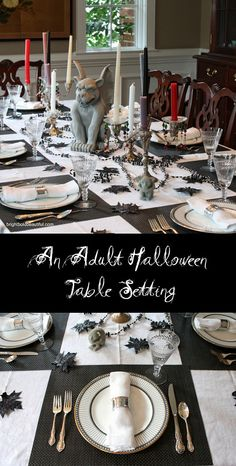 Create an Adult Halloween Table Setting with different colored candles for a Gothic look, black placemats, a decorated chandelier, and black spray painted leaves.