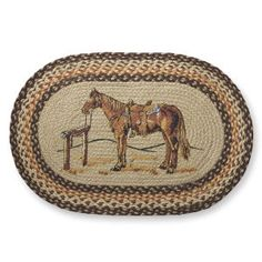 Western Horse Braided Rug - Western Wear, Equestrian Inspired Clothing, Jewelry, Home Décor, Gifts