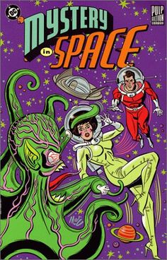 I think it's hilarious that her space suit comes in high heels.  Mystery in Space (Pulp Fiction Library)
