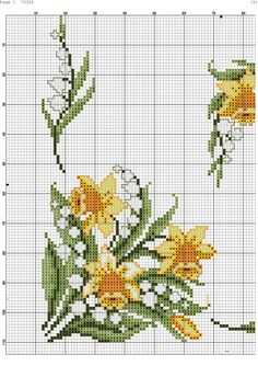 Daffodil flowers free cross stitch pattern - My site Cross Stitch Pillow, Cross Stitch Heart, Beaded Cross Stitch, Cross Stitch Borders, Cross Stitch Flowers, Cross Stitch Designs, Cross Stitching, Cross Stitch Embroidery, Cross Stitch Patterns