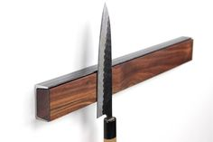 Magnetic Knife Rack - This is a handcrafted knife rack made of wood and steel. The magnets are hidden in the wood piece safley holding: knives, bottle openers, scissors and other kitchen utensils. Magnetic Knife Holder, Magnetic Knife Strip, Wall Bar, Damascus Steel, Wood Pieces, Kitchen Utensils, Kitchen Storage, Made Of Wood, Bars For Home