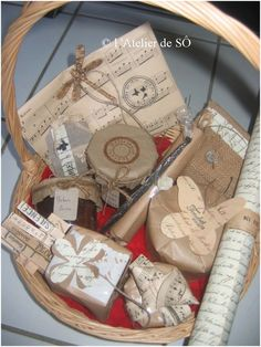 Give a gift of several little items big impact with coordinated wrapping all through the basket.