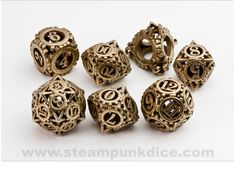 I bet your dice don't look this good. You can buy stainless steel, precious metal, or plastic versions (depending on how much money you are willing to spend). Not something you see everyday and definitely a conversation-starter. [Get them]