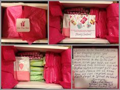 """""""I received my package and I am so happy happy!!! The package is beautifully arranged and the personal note is extremely wonderful!! It's so uplifting and brings me a huge, gigantic smile :) I dove into the candy and it's happy times now!"""" -Mother of 2, Atlanta GA. Sign up today for your care package! #handled #women #period #giftideas #girlpower #nobrainer #girlcode"""