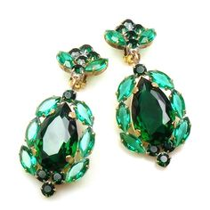 "Dangling huge clips-on earrings with large pear stones, length 3.25""  . Price: $24.90"