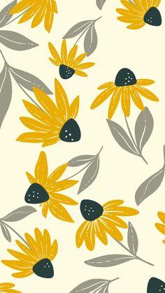 Vintage Flowers Wallpaper, Soft Wallpaper, Wallpaper Iphone Cute, Pattern Wallpaper, Wallpaper Backgrounds, Yellow Flower Wallpaper, Flower Backgrounds, Surface Pattern Design, Pattern Art