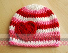 Crochet Valentine Beanie by CoriesCreations on Etsy