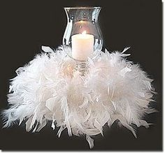 art deco--flapper feather boa concept from roaring 20's...might be interesting on black tablecloth
