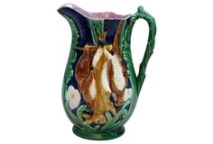 Antique English Majolica Game Pitcher