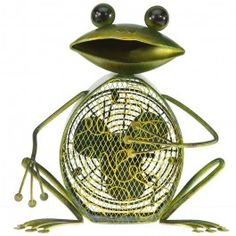 Deco Breeze Frog Table Fan // Let this charming Frog Shaped Decorative Figurine Fan brighten your day while it keeps you cool. With its decorative appeal, a Figurine Fan can easily become a permanent part of any desk, vanity, bedroom, kitchen, or bathroom décor.