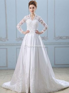 EDWINA - A-line V-neck Chapel train Satin Tulle Wedding dress