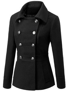 Women's Peacoat Turndown Collar Solid Color Short Winter Coats