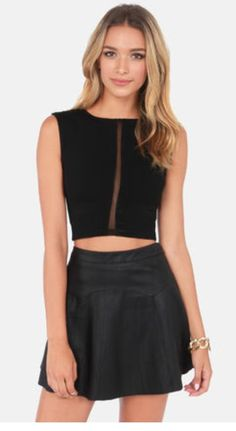 Caught in the Middle Sleeveless Black Crop Top
