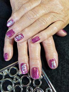 Pink glitter gel Polish nails