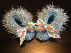 Heart Trimmed Delicate Blue Handmade Baby Booties by JCACreation, $10.00