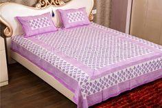 Purple color Handmade Block print on white base Double Bed Sheet