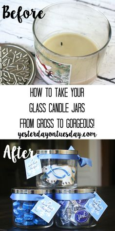 How to transform a glass candle jar into a pretty candy jar, plus printable gift tags.