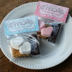 """I need s'more friends like you"" kids valentines, free printable.  I made the teacher gift version last year from the same website and they were a huge hit!!"