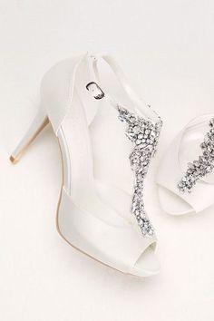 Crystal T-Strap Peep Toe High Heel by Wonder by Jenny Packham available at David's Bridal