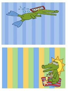 Freebie! Fern Smith's Gator Beach Themed BLANK Book Bin Labels for Your Classroom Library!  Use them for name tags, desk tags, center rotation charts, bulletin boards, window decorations...the ways you can use them are endless!
