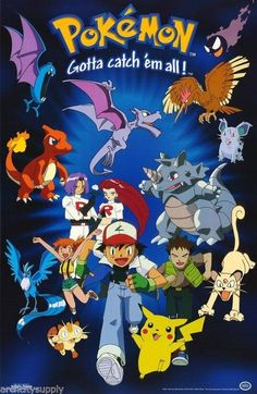 Gotta Catch 'Em All! A great poster of Pikachu, Ash, and all of your favorite Pokemon characters from the hit anime cartoon series. Need Poster Mounts. Pokemon Poster, Pokemon Alola, Pokemon Party, Pikachu, Pokemon Sketch, Deviantart Pokemon, Pokemon Movies, Film Pokemon, Nerd