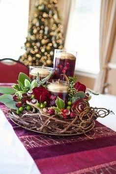 Grapevine cranberry candle centerpiece