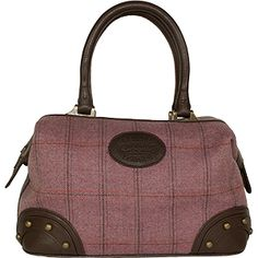 Dee Two British Tweed Heather Small Gladstone Bag Country Cognac The Country Cognac range of handbags and accessories combines the luxury of leather