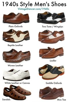 New men's shoes. Oxfords, wingtips, saddle shoes, black and white shoes, brown and shite shoes 1940s Mens Suits, 1940s Mens Fashion, Mens Fashion Shoes, Men S Shoes, Vintage Fashion, Shoes Uk, Fashion Rings, Dress Fashion, Fashion Clothes
