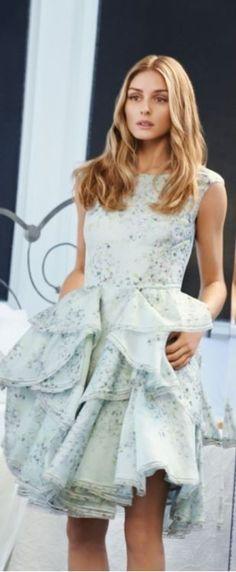 Who made Olivia Palermo's blue print dress?