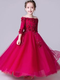 Red StereoFlowers Party Slash Neck Long Dress - Capital Of Fasion Girls Pageant Dresses, Gowns For Girls, Frocks For Girls, Kids Frocks, Little Girl Dresses, Flower Girl Dresses, Dress Anak, Baby Dress Patterns, Princess Dress Patterns