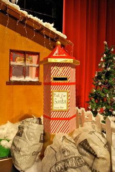 The finished Christmas postbox at the Santa grotto… Christmas Grotto Ideas, Christmas Fayre Ideas, Office Christmas Decorations, Christmas Post, Christmas Tree Farm, Christmas Projects, Christmas Themes, Fete Ideas, Diy Holiday Cards
