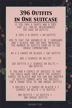 How to pack 396 outfits in one suitcase.