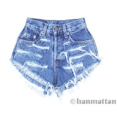 """ALL SIZES """"RAGGED"""" Vintage Levi high-waisted denim shorts blue... ($26) ❤ liked on Polyvore"""