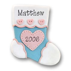 Blue Baby Stocking  Personalized Baby Ornament
