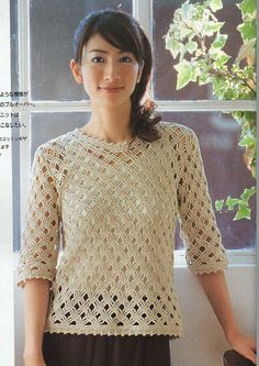 • Pattern: Crochet Lace Summer Vest Top Blouse Pattern • Code: 3025-06 • Please Note: All my crochet knitting patterns are in Japanese,