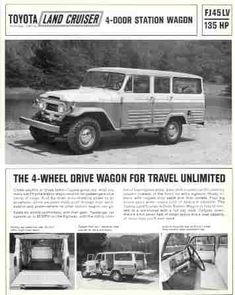 I was doing a search for info on older Toyota Land Cruiser's.and came upon this AD. Toyota Land Cruiser, Fj Cruiser, Toyota Trucks, Toyota Cars, Toyota 4x4, Car Brochure, Expedition Vehicle, Car Advertising, Old Ads