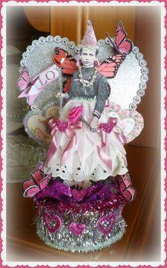Vintage Valentine Fairy Glittery Tablepiece