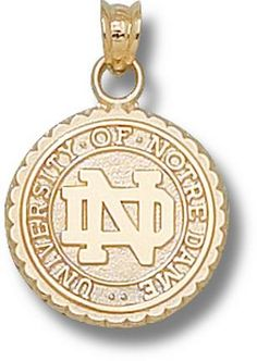 Notre Dame Fighting Irish Seal Pendant - 10KT and 14KT Gold Jewelry