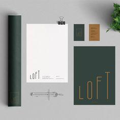 Loft corporate identity design and stationery Corporate Identity Design, Collateral Design, Identity Branding, Visual Identity, Design Logo, Graphic Design Branding, Brand Design, Luxury Graphic Design, Design Design