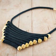 Black Gold Fan Statement Necklace