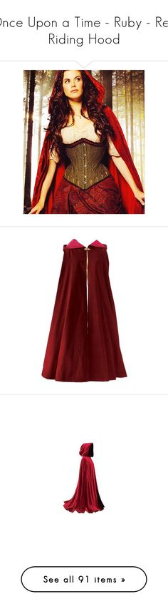 """Once Upon a Time - Ruby - Red Riding Hood"" by shannen-legere-lavigne ❤ liked on Polyvore featuring onceuponatime, ouat, ruby, RedRidingHood, once upon a time, people, backgrounds, outerwear, capes and cloak"