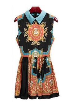 Black Vintage Print Sleeveless Dress:Buy at Sheinside ($50-100) - Svpply