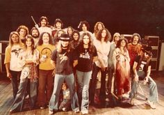 """This is from the Fox Theater, """"One More from the Road"""".  Left to right  1st row: Chuck Flowers Leslie Hawkins Billy Powell Ronnie VanZant Gary Rossington JoJo Billingsley Leon Wilkeson Artimus' son under Ronnie  2nd row: David St. John – Sound Production Piano Tech Bob O'Neil – Continental Design Lighting Designer Artimus Pyle Steve Gaines Allen Collins John Butler Ron Eckerman – Road Manager  3rd row: Kevin Elson Craig Reed Cassie Gaines Joe Barnes Dean Kilpatrick"""